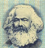 GERMANY - CIRCA 1975: Karl Marx (1818-1883) on 100 Mark 1975 Banknote from East Germany. German phil