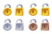 Padlock Icon With Square And Round Shape. Vector Gui Level Lock. Golden, Silver And Bronze Padlocks. poster