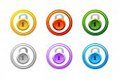 Lock Icon In Different Colors. Vector Gui Level Lock. poster