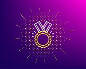 Award Medal Line Icon. Halftone Pattern. Winner Achievement Symbol. Glory Or Honor Sign. Gradient Ba poster