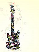 Colorful guitar decorated with floral and musical notes on abstract, wave background, EPS 10. can be