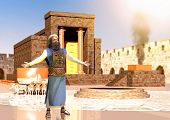 Biblical Jewish Priest Standing In Front Of King Solomons Temple poster