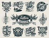 Vintage Monochrome Tattoo Studio Badges With Crossed Military Knives Tattoo Machines Skull Pierced W poster