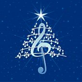 Christmas Tree Made Of White Musical Notes, Treble Clef And Pentagram On Blue Background With Stars  poster