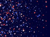 American Memorial Day Stars Background. Holiday Confetti In Us Flag Colors For Patriot Day.  Navy Re poster