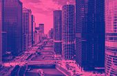 Chicago River With Boats And Traffic In Downtown Chicago With Duotone poster