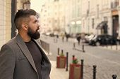Catching Taxi. Businessman Catching Taxi While Standing Outdoors Urban Background. Man Bearded Hipst poster