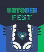 Oktoberfest Dirndl, Lettering Simple Flat Color Vector Poster. Beer Festival Minimalist Design Eleme poster