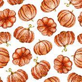 Autumn Seamless Pattern. Hand Drawn Watercolor Illustration. Pumpkins Hand Drawn Sketch. Autumn Patt poster