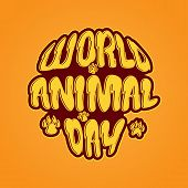 World Animal Day 4 October Vector Emblem. Banner World Animal Day With Wild Animals And Planet Earth poster