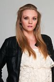 picture of frilly  - Pretty young plus size blonde in a frilly blouse - JPG