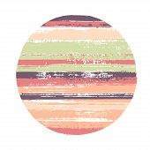 Abrupt Circle Vector Geometric Shape With Stripes Texture Of Ink Horizontal Lines. Old Paint Texture poster