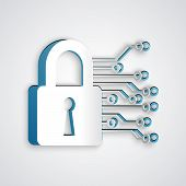Paper Cut Cyber Security Icon Isolated On Grey Background. Closed Padlock On Digital Circuit Board.  poster