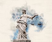 Watercolor illustration of a Statue of Lady Justice holding scales and sword poster
