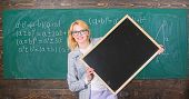 Remember This Information. Teacher Smart Smiling Woman Hold Blackboard Blank Advertisement Copy Spac poster