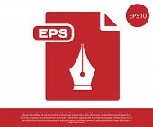 Red Eps File Document. Download Eps Button Icon Isolated On White Background. Eps File Symbol. Vecto poster