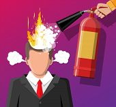 Stressed Businessman With Hair On Fire Gets Help From Man With Extinguisher. Overworked Man With Bur poster