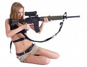 foto of girls guns  - Sexy young aiming woman with rifle - JPG