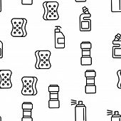 Disinfectant, Antibacterial Substance Vector Seamless Pattern Contour Illustration poster