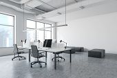 White Industrial Style Office With Lounge poster