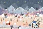 Illustrator Winter Landscape,vector Of Horizontal Banner Of Winter Wonderland At Countryside With Sn poster