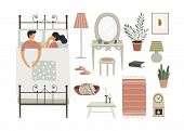 A Man And A Woman Are Sleeping Together On A Bed. A Set Of Bedroom Interior Items Creating A Home Co poster