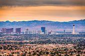 Las Vegas, Nevada, USA cityscape over neighborhoods at dusk. poster