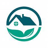 Green House Logo Vector. Eco Green House. Eco Friendly House Icon. Green Home Art Symbol. - Vector - poster
