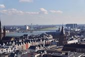 Panoramic Aerial View Over Cologne Historic City Center, Downtown, With Colorful Historical Building poster