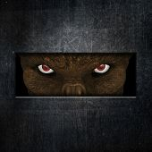 3D render of a demonic creature staring through a slot in a door poster