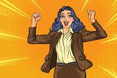 Successful Female Businesswoman Retro Style Pop Art.working Woman Hand Up  Pop Art Retro Comic poster