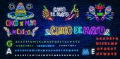 Cinco De Mayo Neon Text With Sombrero And Moustache. Mexican Culture And Holiday Design. Night Brigh poster