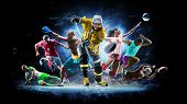Multi Sport Collage Football Boxing Soccer Voleyball Ice Hockey On Black Background poster