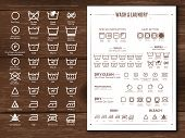 Laundry Flat Icons Illustration. Laundry Flat Icons Illustration On Wooden Background White Signs On poster