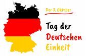 German Unity Day (tag Der Deutschen Einheit) Vector Greeting Card With Country Silhouette And Congra poster