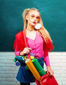 Fancy Schoolgirl. School Fashion. Creative Teen. Fashionable Girl Creative Student Chalkboard Backgr poster