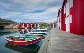 Wooden fishing huts Sweden, Scandinavia poster