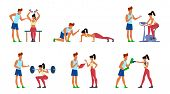 Fitness Trainer. Gymnastics Exercising In Gym With Instructor, Active Sport Woman, Athletic Training poster