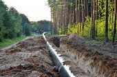 Natural Gas Pipeline Construction Work. A Dug Trench In The Ground For The Installation And Installa poster