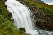 Waterfall Long Exposure In The Mountains Of Sweden, Scandinavia poster