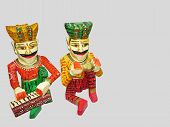 Handmade Wooden Colourful Toy Musicians.handicraft  Work From Rajasthan State, Of  India. Dolls Men, poster