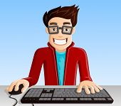 stock photo of geek  - Funny Smiling Computer Geek with Keyboard  - JPG