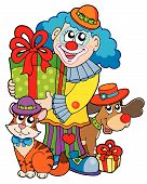 Party Clown With Cute Animals poster