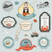 image of octopus  - Collection of vintage retro grunge seafood restaurant labels - JPG