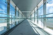 glass corridor in office centre