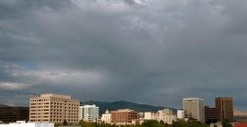 stock photo of boise  - Dark cloudy skys over the Boise Idaho City skyline - JPG