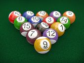 3D Racked Billiard Pool Balls
