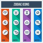 foto of cancer horoscope icon  - Zodiac signs with shadows in flat style - JPG