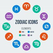 stock photo of sagittarius  - Zodiac signs in circle in flat style - JPG
