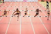 LINZ, AUSTRIA - JANUARY 31 Yvette Lewis (#157 USA) wins the women's 60m hurdles event on January 31,